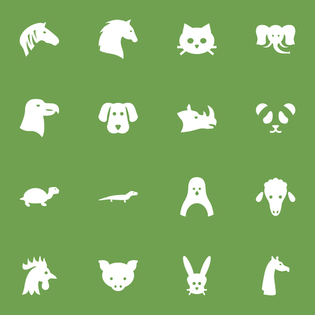 Set Of 16 Alive Icons Set.Collection Of Rooster, Rhinoceros, Bear And Other Elements. Illustration