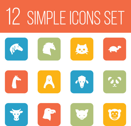 Set Of 12 Alive Icons Set.Collection Of Aquila, Lamb, Kine And Other Elements.