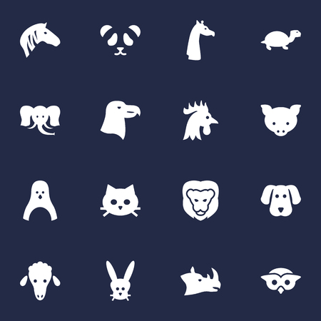 Set Of 16 Alive Icons Set.Collection Of Hog, Pussy, Rooster And Other Elements. Illustration