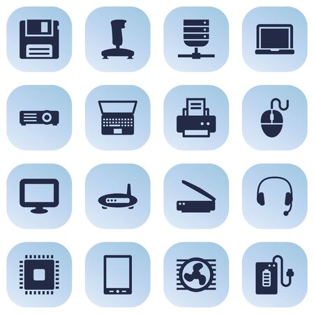 palmtop: Set Of 16 Laptop Icons Set.Collection Of Router, Palmtop, Notebook And Other Elements.