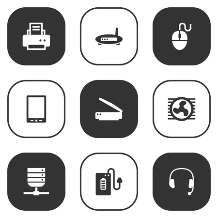 palmtop: Set Of 9 Notebook Icons Set.Collection Of Palmtop, Fan, Datacenter And Other Elements. Illustration