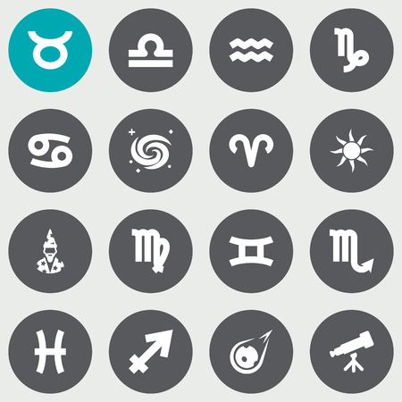 Set Of 16 Astronomy Icons Set.Collection Of Ram, Archer, Zodiac Sign And Other Elements. Illustration