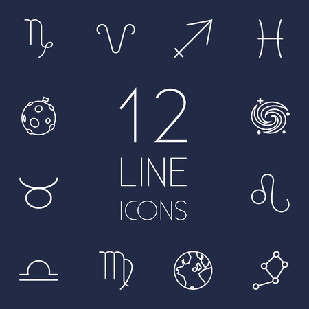 Set Of 12 Astrology Outline Icons Set.Collection Of Libra, Aries, Pisces And Other Elements.