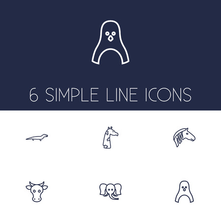 Set Of 6 Beast Outline Icons Set.Collection Of Mammal, Cow, Elephant And Other Elements.