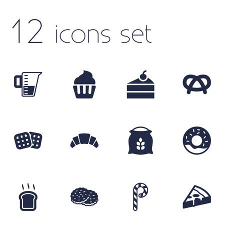 Set Of 12 Cook Icons Set.Collection Of Dessert, Pepperoni, Shortcake And Other Elements.