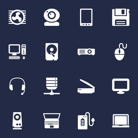 Set Of 16 Computer Icons Set.Collection Of Palmtop, Control Device, Headset And Other Elements.