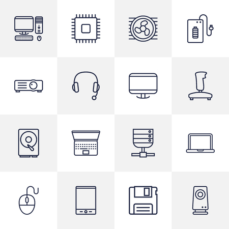 old notebook: Set Of 16 Laptop Outline Icons Set.Collection Of PC, Server, Monitor And Other Elements.