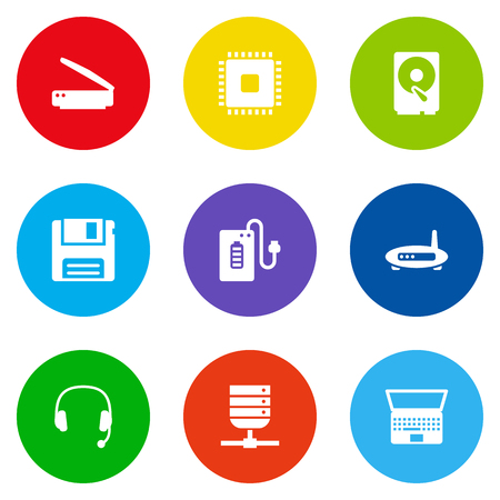 earpiece: Set Of 9 Computer Icons Set.Collection Of Notebook, Microprocessor, Supply And Other Elements.