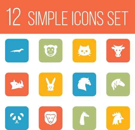 Set Of 12 Beast Icons Set.Collection Of Horse, Bunny, Bear And Other Elements.