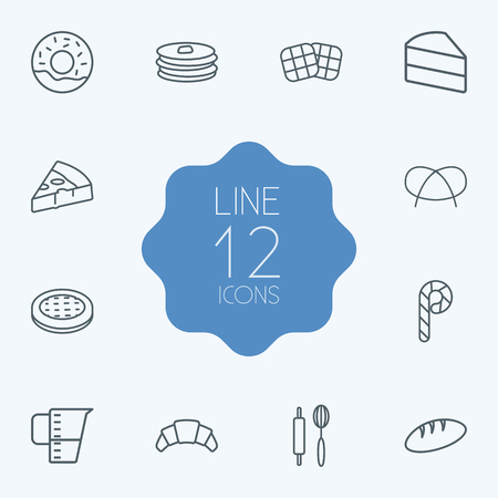 Set Of 12 Bakery Outline Icons Set.Collection Of Waffle, Bread, Pancakes And Other Elements.