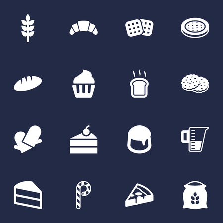 Set Of 16 Stove Icons Set.Collection Of Shortcake, Sack, Slice Bread And Other Elements.