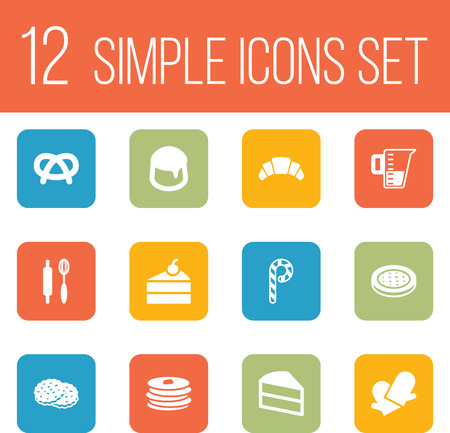 Set Of 12 Stove Icons Set.Collection Of Pastry, Sweetmeat, Striped Lollipop And Other Elements.