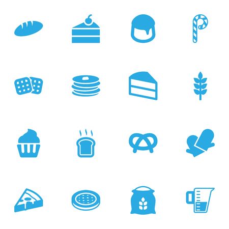 Set Of 16 Oven Icons Set.Collection Of Potholders, Measurement, Crepe And Other Elements.