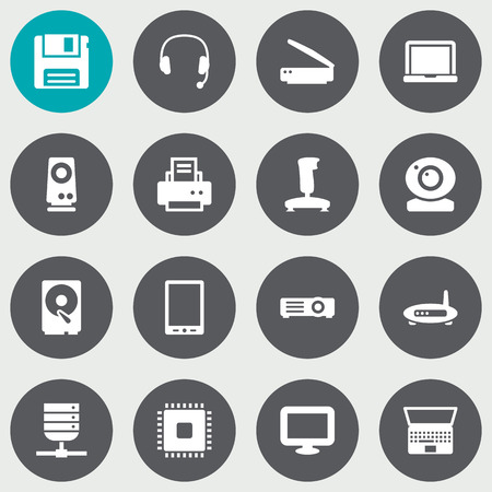 palmtop: Set Of 16 Computer Icons Set.Collection Of Palmtop, Datacenter, Microprocessor And Other Elements.