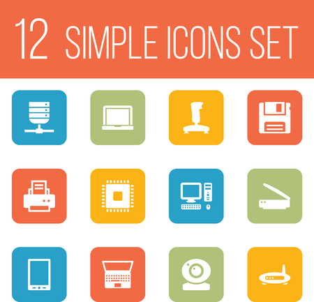 palmtop: Set Of 12 Laptop Icons Set.Collection Of Palmtop, Notebook And Other Elements.