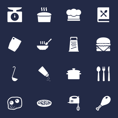 Set Of 16 Cooking Icons Set.Collection Of Weighing scale, Sandwich, Kitchen Rasp Elements. Illustration