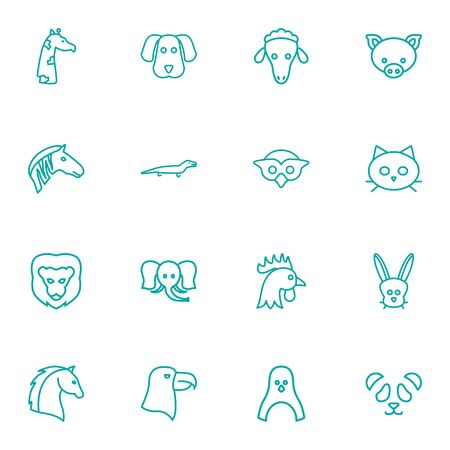 Set Of 16 Brute Outline Icons Set.Collection Of Horse, Feline Bear, Giraffe And Other Elements.  イラスト・ベクター素材
