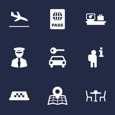 documentation: Set Of 9 Airplane Icons Set.Collection Of Data, Automobile, Letdown And Other Elements.