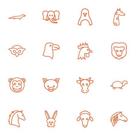 Set Of 16 Brute Outline Icons Set.Collection Of Penguin, Mammal, Monkey And Other Elements.