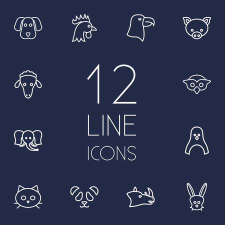 Set Of 12 Brute Outline Icons Set.Collection Of Dog, Owl, Cat And Other Elements.