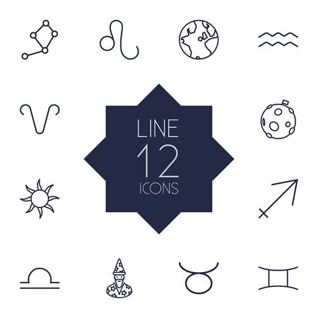 astrologer: Set Of 12 Galaxy Outline Icons Set.Collection Of Astrologer, Aqurius, Leo And Other Elements.