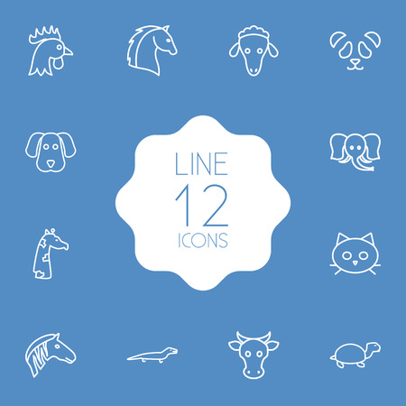 Set Of 12 Beast Outline Icons Set.Collection Of Elephant, Cock, Cow And Other Elements.