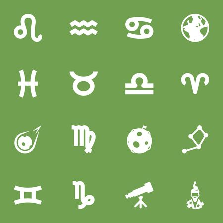 Set Of 16 Astrology Icons Set.Collection Of Augur, Earth Planet, Comet And Other Elements.