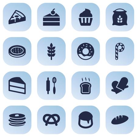 Satz von 16 Icons Set.Sammlung von Striped Lollipop, Scheiben Brot, Peperoni und andere Elemente.