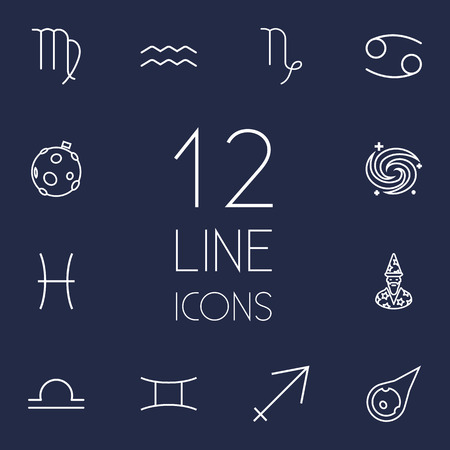 Set Of 12 Astronomy Outline Icons Set.Collection Of Moon, Gemini, Galaxy And Other Elements. Illustration