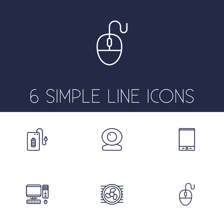 Set Of 6 Computer Outline Icons Set.Collection Of Powerbank, Tablet, Cooler And Other Elements. Illustration