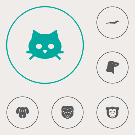Set Of 6 Brute Icons Set.Collection Of Aquila, Pussy, Gecko And Other Elements.