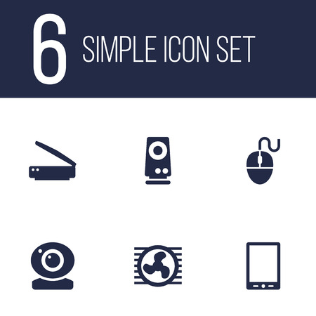 palmtop: Set Of 6 Laptop Icons Set.Collection Of Control Device, Record, Palmtop And Other Elements.