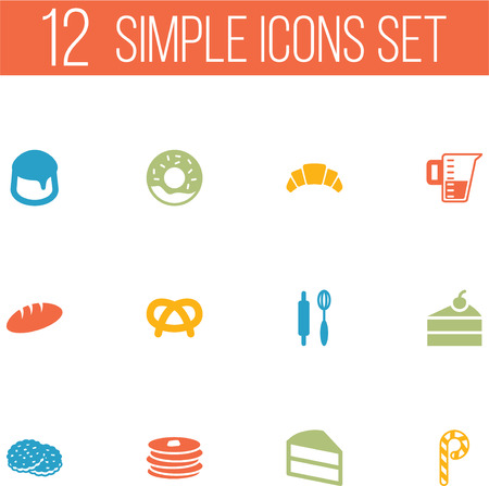 Set Of 12 Cook Icons Set.Collection Of Crepe,  Loaf And Other Elements.
