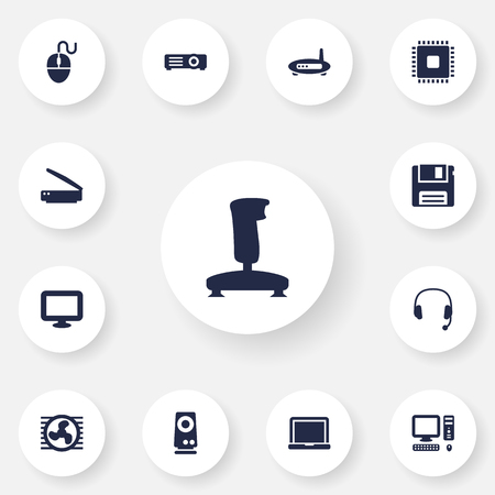 Set Of 13 Notebook Icons Set.Collection Of Amplifier, Control Device, Router And Other Elements.