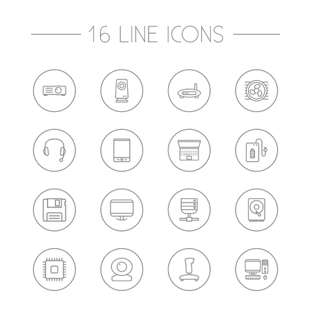 old notebook: Set Of 16 Notebook Outline Icons Set.Collection Of Cooler, PC, Hdd And Other Elements.