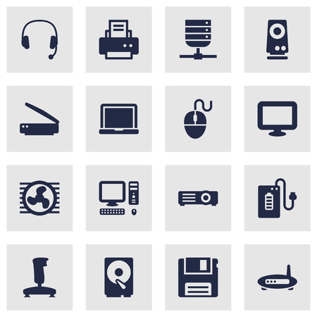 adsl: Set Of 16 Laptop Icons Set.Collection Of Peripheral, Show And Other Elements.