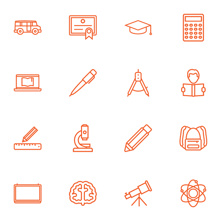 Set Of 16 Studies Outline Icons Set.Collection Of School Board, Microscope, Bus And Other Elements.