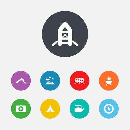 Set Of 9 Picnic Icons Set.Collection Of Landscape , Magnet Navigatior, Inflatable Raft Elements.