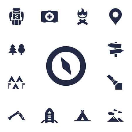 Set Of 13 Outdoor Icons Set.Collection Of Magnet Navigatior, Camp, Flashlight And Other Elements. Illustration