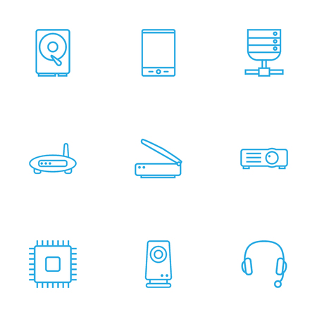 Set Of 9 Computer Outline Icons Set.Collection Of Hdd, Headphone, Tablet And Other Elements. Stock Vector - 77695824