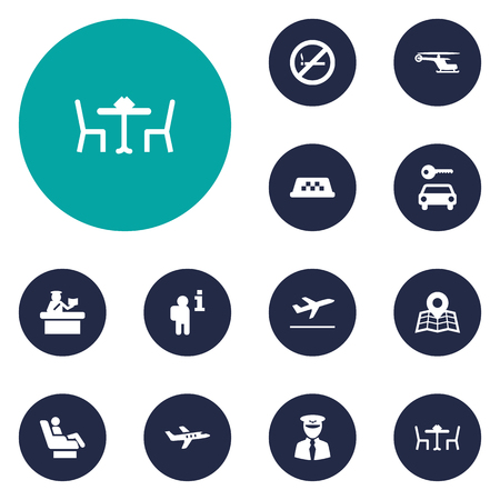 documentation: Set Of 12 Airplane Icons Set.Collection Of Restaurant, Leaving, Location And Other Elements. Illustration