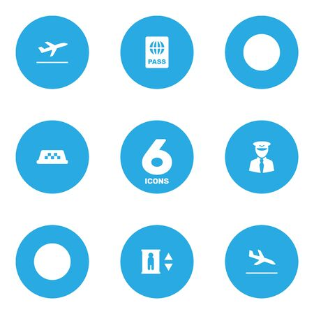 lift gate: Set Of 6 Land Icons Set.Collection Of Leaving, Letdown, Aviator And Other Elements.