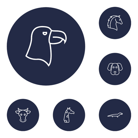 Set Of 6 Alive Outline Icons Set.Collection Of Dog, Horse, Eagle And Other Elements.