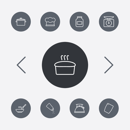 broth: Set Of 9 Culinary Outline Icons Set.Collection Of Pan, Jug, Soup And Other Elements.