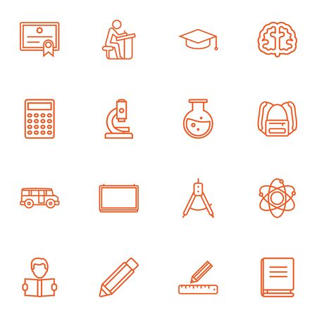 omnibus: Set Of 16 Science Outline Icons Set.Collection Of Ruler, Microscope, Calculator And Other Elements. Illustration