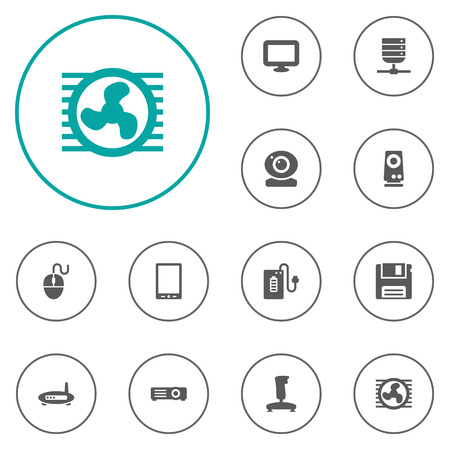 palmtop: Set Of 12 Notebook Icons Set.Collection Of Amplifier, Diskette, Palmtop And Other Elements. Illustration