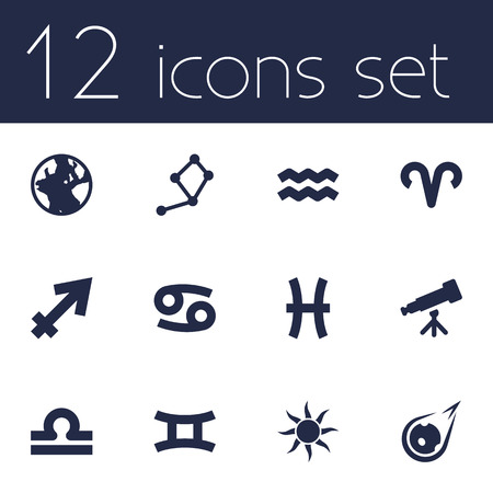 Set Of 12 Astrology Icons Set.Collection Of Twins, Water Bearer, Fishes And Other Elements. Illustration