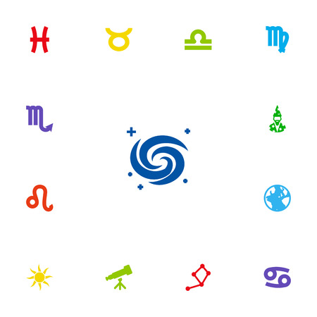 Set Of 13 Horoscope Icons Set.Collection Of Binoculars, Augur, Earth Planet And Other Elements.