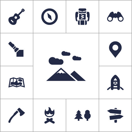 outdoor fireplace: Set Of 13 Picnic Icons Set.Collection Of Inflatable Raft, Tree, Signpost And Other Elements.
