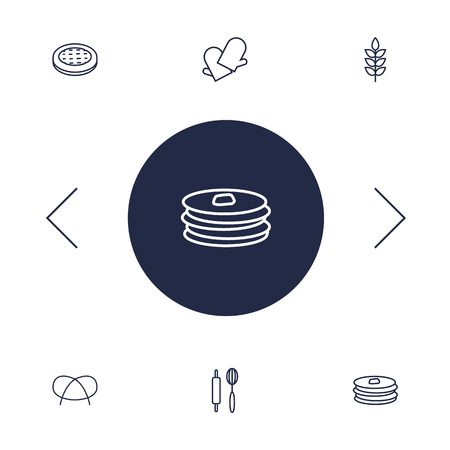 Set Of 6 Cook Outline Icons Set.Collection Of Apple Pie, Pancakes, Gloves And Other Elements. Vettoriali